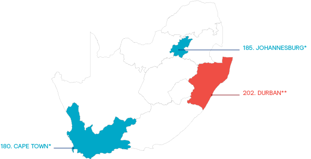 Map of South Africa showing cost of living rank for the three prevalent expatriate assignment destinations