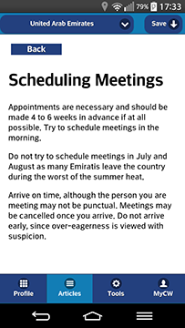 Culture Passport on the Go Business Culture Tips scheduling meetings screenshot