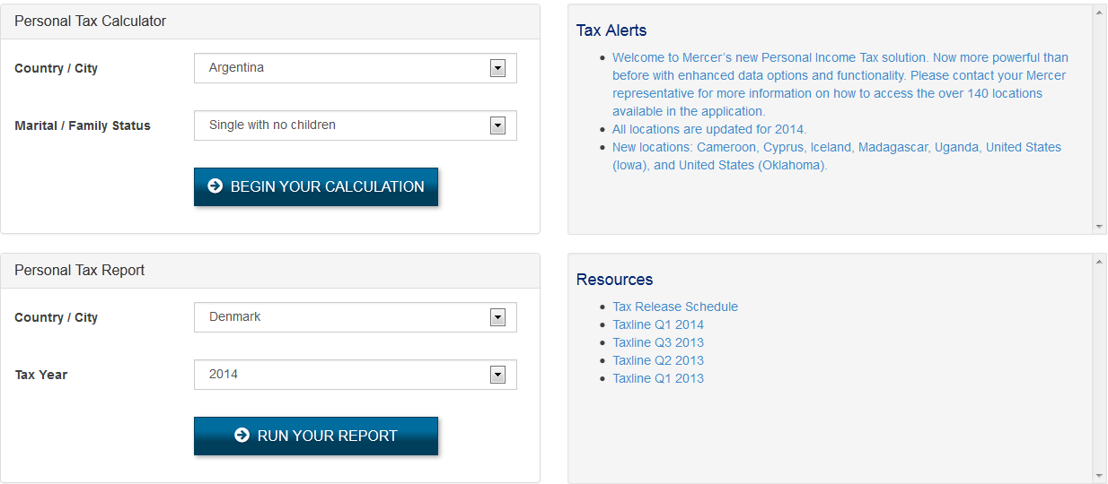 Mercer Personal Tax Reports screenshot