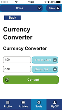 Culture Passport on the Go useful widgets screenshot currency converter