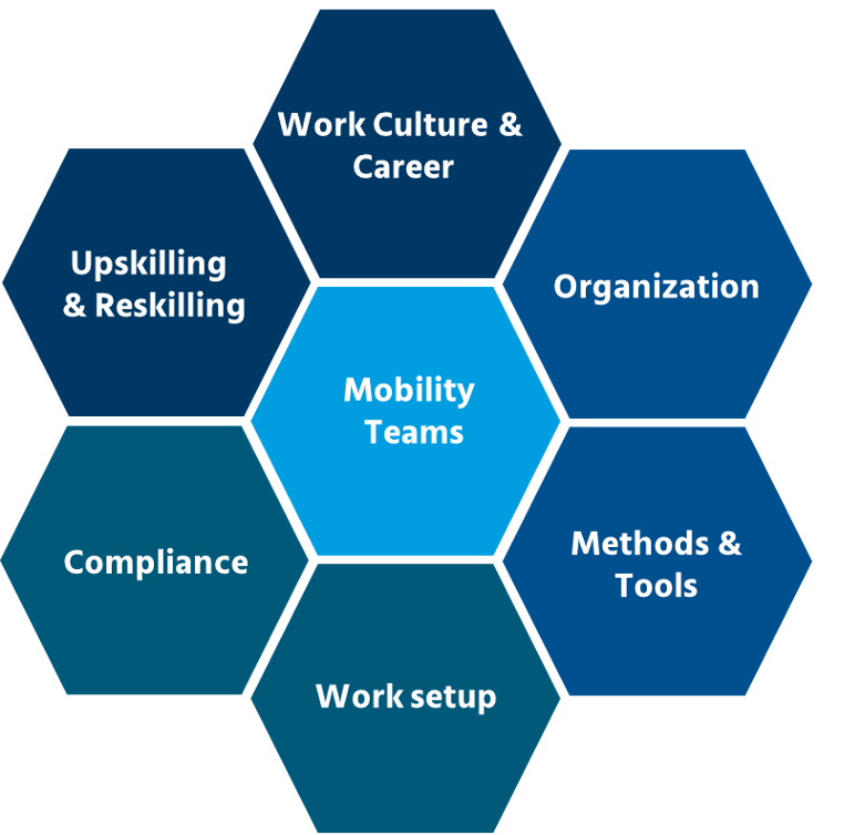 Hexagonal chart illustrates the connections among mobility teams and six areas of workplace change discussed in this article: work culture, organization, work setup, tools, upskilling, and compliance.