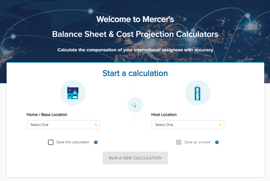 Welcome screen for Mercer's Balance Sheet Calculator and Cost Projection Calculator for international business assignments.