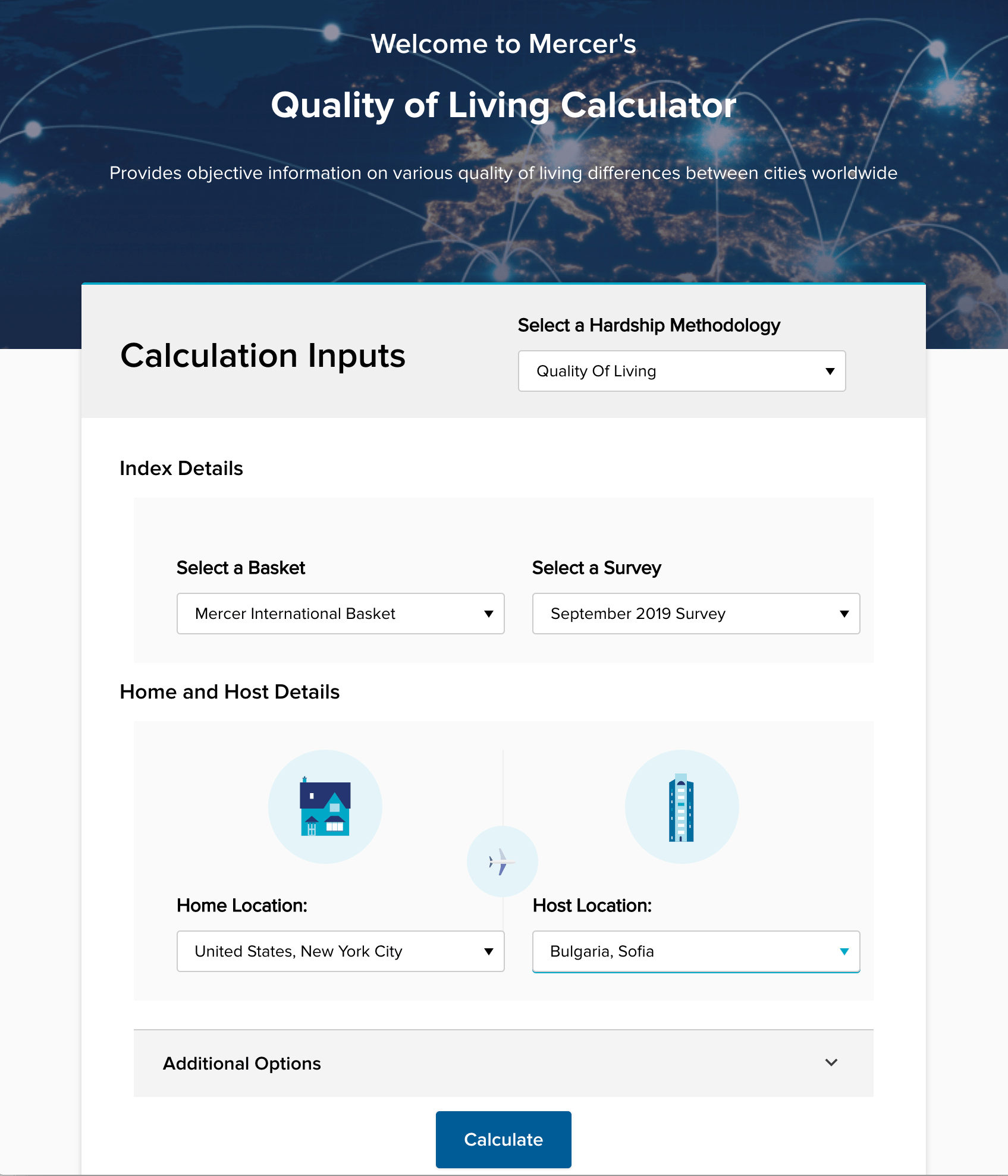 Quality of Living Calculator - Welcome screen