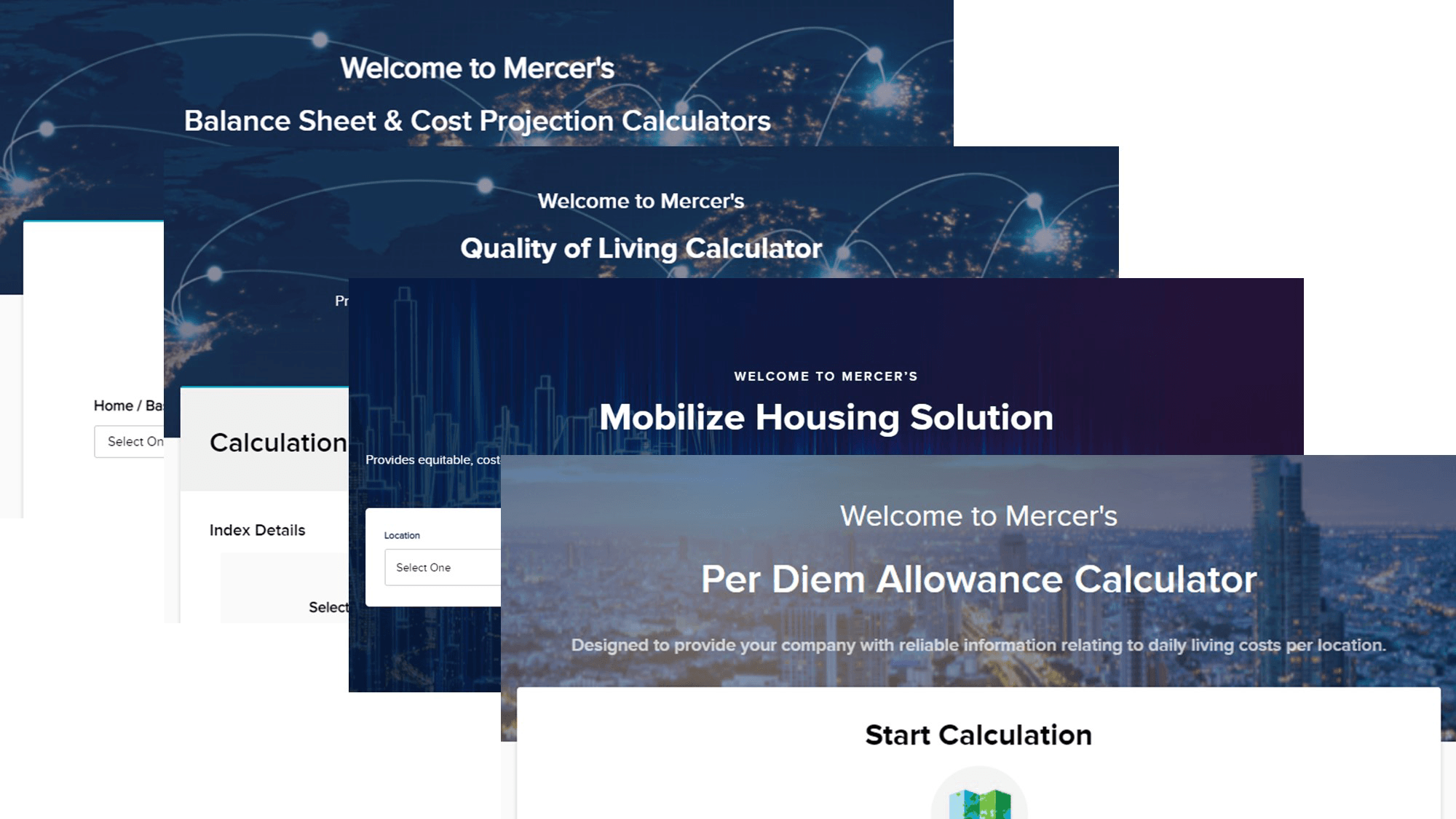Screenshot collage of a Mercer mobility calculators